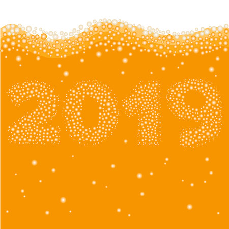 Happy New Year 2019 concept. Number created of bubbles inside orange liquid - juice, beer or champaign. Celebration logo or xmas poster template.