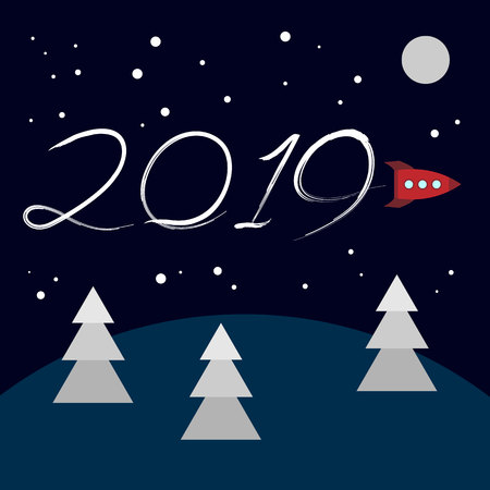 New Year concept - cartoon rocket left a trace in the form of numbers 2019. Flat vector clip art. Retro toy spaceship write in the sky. Template for greeting card cover.
