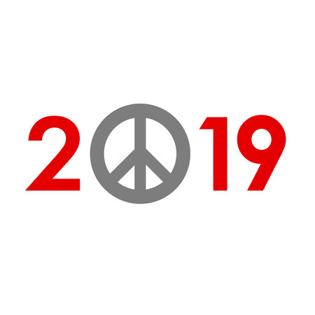 New Year 2019 concept - red digits with pacifists (peace) sign instead zero. Sign for winter holiday card or poster. Flat style vector clip art on white background. Celebration logo.