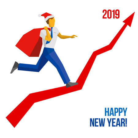 businessman in santa hat with gift bag running grow up graph to 2019 point new