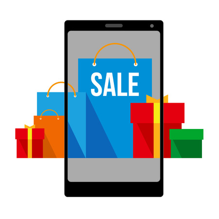 Bright flat shopping bags and boxes on smartphone screen and around. Group of red, green and blue paper pockets. Signs for online shop or store. Isolated on white background, with place for text.