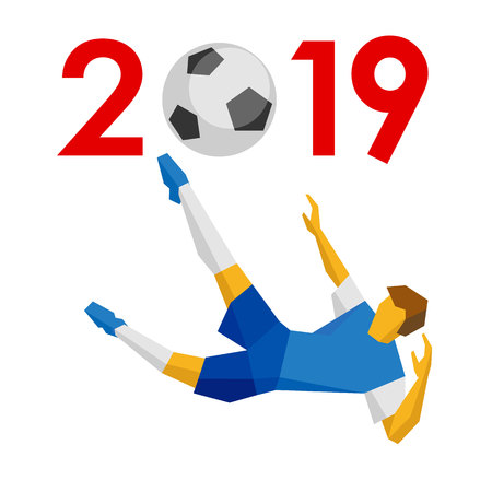 New Year 2019 concept - digits with soccer ball instead zero. With footballer in jump. Holiday sign for football greeting card, poster or calendar. Flat style vector clip art on white background. Ilustrace