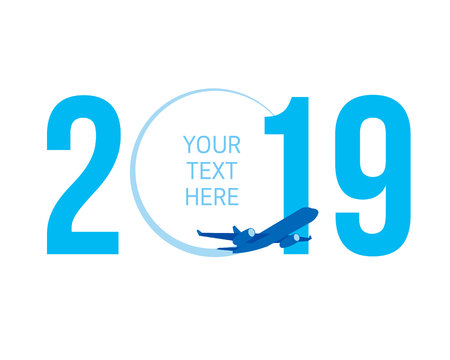 New Year concept - airplane left a trace in the form of zero in 2019. Flat vector clip art. Greeting card or poster template - plain write digits in the sky. With place for text. Celebration logo.
