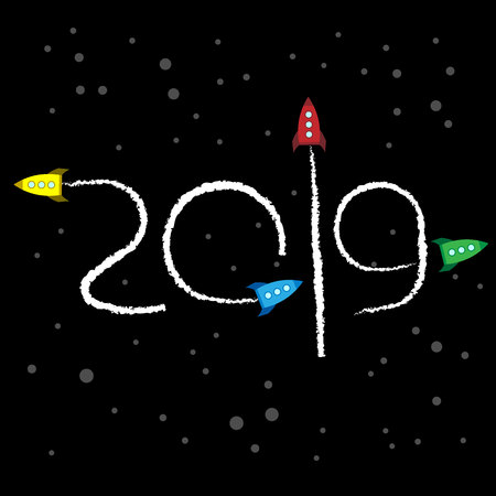 New Year 2019 concept - cartoon rockets left traces in the form of numbers. Toy retro spaceships write digits in the sky. Flat vector clip art. Template for greeting card cover. Ilustrace