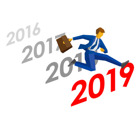 Businessman jump over number 2019, sequence of over dates behind. Man crosses the borderline, career success. New year concept for greeting card, poster or annual report. Isolated on white background.