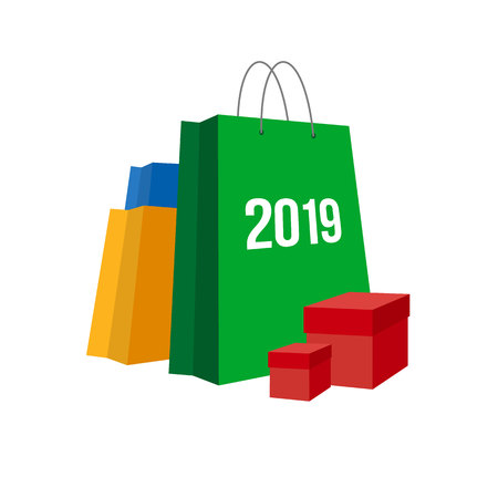 New year shopping. Set of colorful paper shopping bags with numbers 2019 and present boxes near. Isolated on white background. Simple vector clip art, celebration logo for online shops.