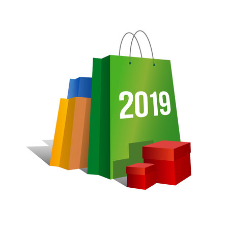 New year shopping. Set of colorful paper shopping bags with numbers 2019 and present boxes near. Isolated on white background. Vector clip art with gradients, celebration logo for online shops.