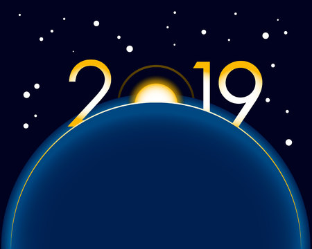 New Year 2019 concept - sunrise with digits. Earth in space, stars behind. Year number vector clip art, celebration logo. Ilustrace
