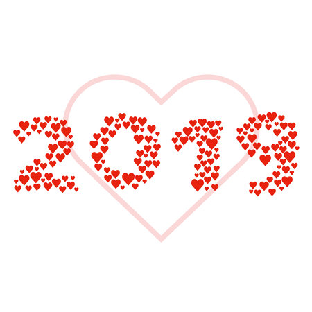 New year 2019 concept - digits created from red hearts. Isolated on white. Lot of love symbols, romantic concept. Design element for card or poster. Ilustrace