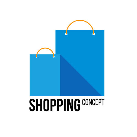 Two blue paper shopping bags with place for text or label. Isolated on white background. Flat vector logo template for shops and stores. Ilustrace