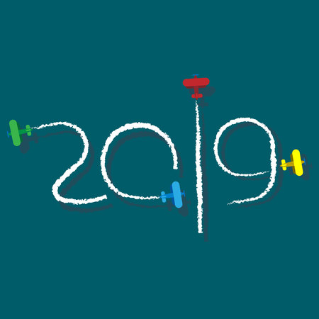 New Year 2019 illustration - planes left traces in the form of numbers. Airplane write digits in the sky. Flat vector clip art. Celebration logo. Ilustrace