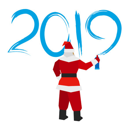 Santa Claus with sprayer writes number 2019. Painter draw a holiday graffiti. New year concept for card or poster. Flat style vector clip art on white background. Ilustrace