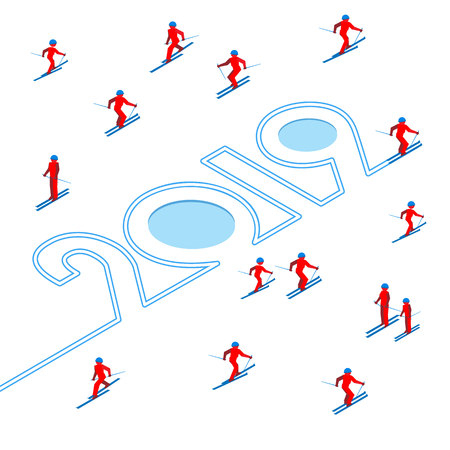 Happy New Year concept - skier has left a trace in the form of numbers 2019. With lot of people skiing around. Athlete write digits on snow - vector image clip art. Isometric 3D on white background.
