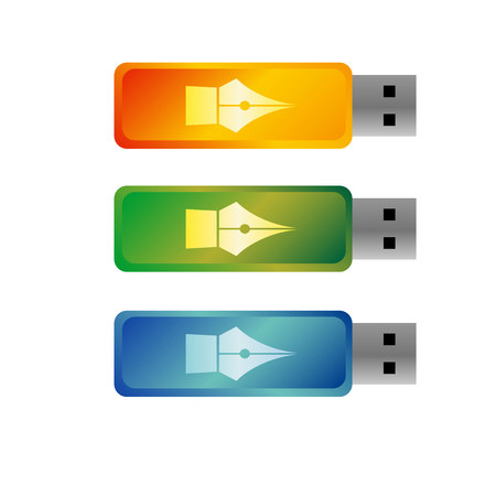 USB flash drives, colored portable data storage. Vector templates for mock ups, with free space for corporate branding or text. Green, orange and blue devices.