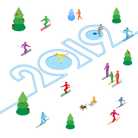 New Year 2019 concept - skier left a trace in the form of numbers. Lot of people around. Athlete write digits on the snow - vector image clip art. Isometric 3D on white background.