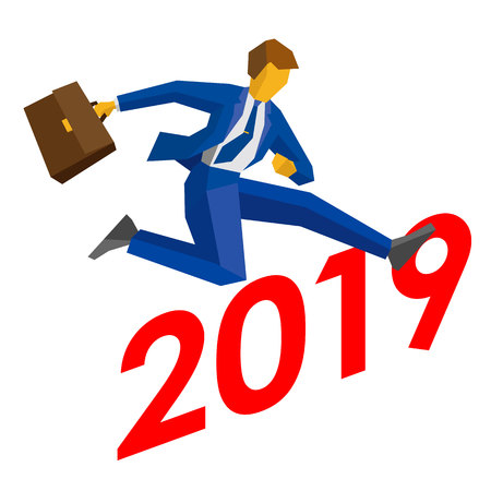 Businessman jump over number 2019. Man crosses the borderline, career success. New year concept for greeting card, poster or annual report. Isometric vector clip art, isolated on white background.