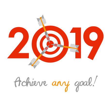 New Year 2019 business concept. Target with three darts instead of zero - symbol of success, achievements. Slogan Achieve any goal! at the bottom.