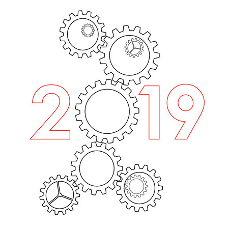 New Year 2019 concept - digits with mechanism. Big gear instead zero. Complex machinery sign for winter holiday card or poster. Outlines vector clip art on white background.