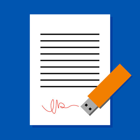 Digital signature concept. White sheet of paper subscribed by USB flash. Simple flat illustration of document and electronic device. Ilustrace