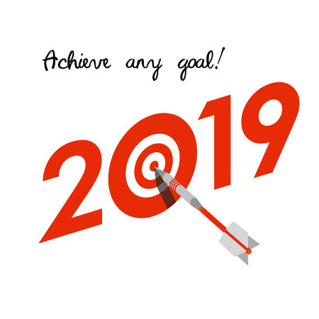 New Year 2019 business concept. Target with dart instead of zero - symbol of success, achievements. Slogan Achieve any goal! at the top. Isometric 3d celebration logo on white background.