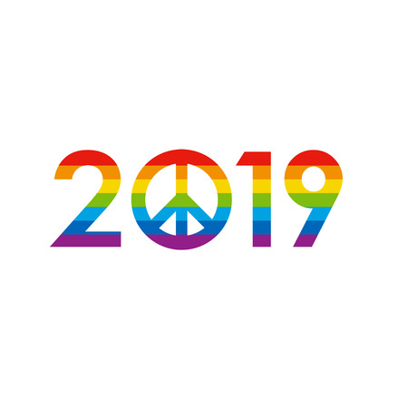 New Year 2019 concept - digits with pacifists (peace) sign instead zero. Colored in rainbow, like LGBT flag. Logo for winter holiday card or poster. Flat celebration logo on white background.