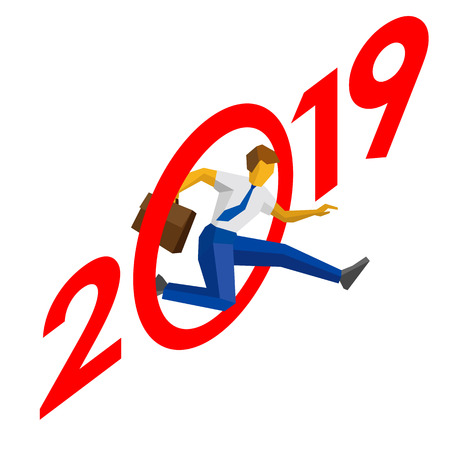 Businessman jump throw zero in number 2019. Man crosses the line, career success. New year concept for greeting card, poster or annual report. Isometric vector clip art, isolated on white background.