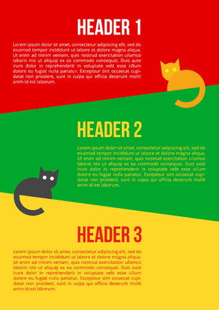 Bright poster vector template with sitting cats. Simple cartoon pets on multicolored background. With place for text. Ilustrace