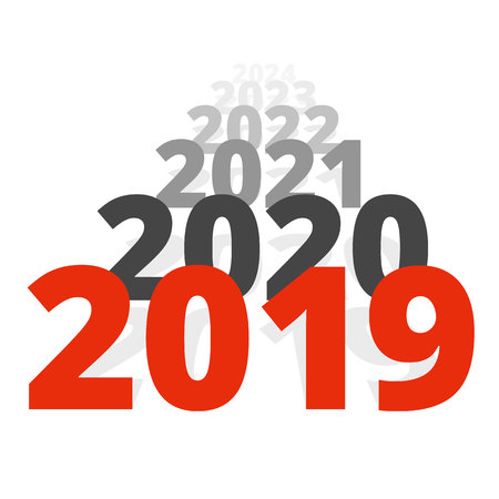 Nieuwjaar 2019 concept - rij met datums die naar de horizon gaan. Een reeks getallen die ver weg beweegt. Geïsoleerd op witte achtergrond. Teken voor vakantie-poster of wenskaart.