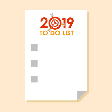 Sticker with To do list for 2018 year and check-boxes. With dart instead of zero - symbol of success, achievements. Simple flat vector clip art.