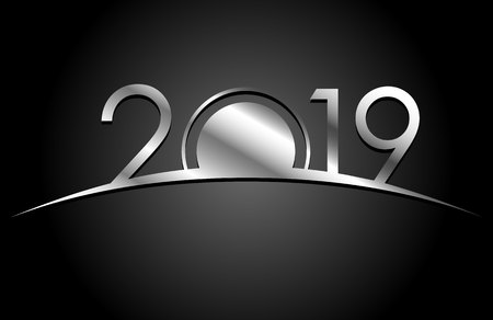 New Year 2018 concept - sunrise with digits. Silver sign on black background. Year number vector clip art. Celebration logo template for greeting cards.