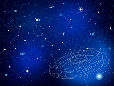 Space map with UFO disk. Stars and lines on deep blue with wireframe disk spaceshFuturistick science abstract background. Vector illustration.