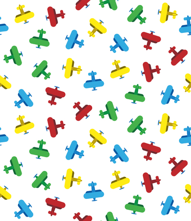 Seamless airplanes texture. Lot of bright colorful biplanes on white background.