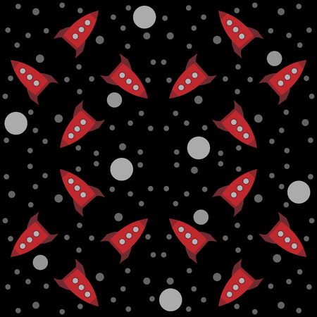 Seamless cartoon retro rockets texture. Black background with red toy spaceships, planets and stars. Kids pattern.