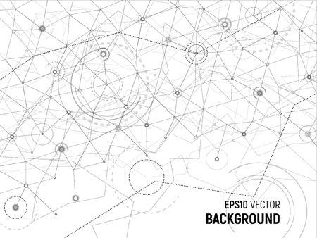 Abstract background. Vector gray lines and dots on white surface with some circles and arcs. Points with connections - space map. Futuristic science illustration. Reklamní fotografie - 114947650