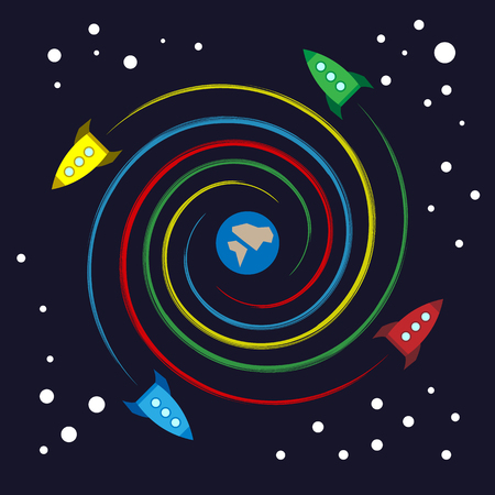 Colorful toy rocket flying spiral. Four cartoon spaceship flying among stars on dark background. Vector image clip art.