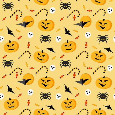 Seamless halloween vector pattern. Yellow texture with traditional horror elements: pumpkins, bats, sculls, spiders and candies. Simple geometric style clip art. Illustration
