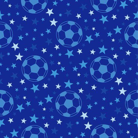 Seamless texture - soccer ball among the stars. Football vector background. In blue and white colors.