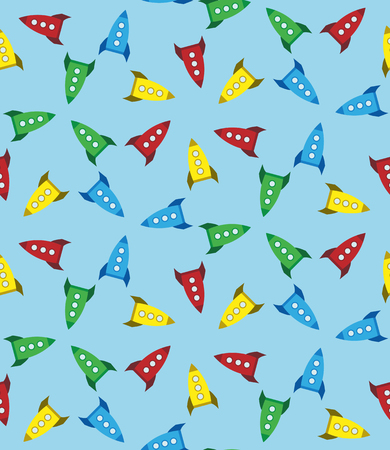 Seamless cartoon retro rockets texture. Background with bright colorful toy spaceships. Ilustrace