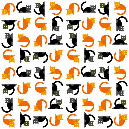 Seamless flat cats pattern. Orange and black cartoon pets background.