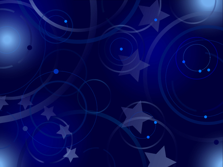 Dark blue background, circles and stars. With elements of European Union flag Ilustrace