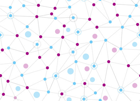 Large seamless abstract background. Vector lines and dots on white surface with some circles. Points with connections - space map. Futuristic science illustration. Illustration