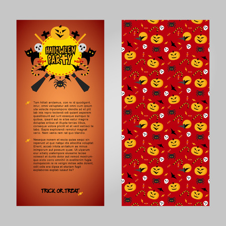 Halloween invitation vector template. Two sides of card with place for text, decorated title and traditional horror elements: pumpkins, bats, sculls. Simple geometric style clip art. Reklamní fotografie - 114947666