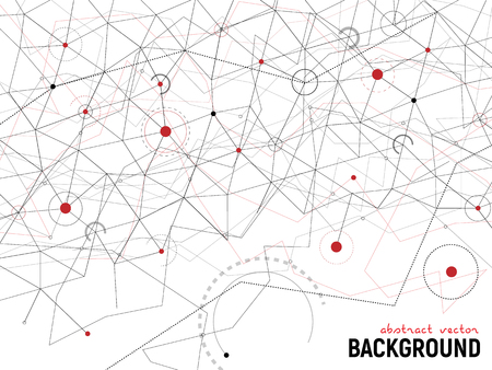 Abstract gray and red background. Vector lines and dots on white surface with some circles and arcs. Points with connections - space map. Futuristic science illustration.