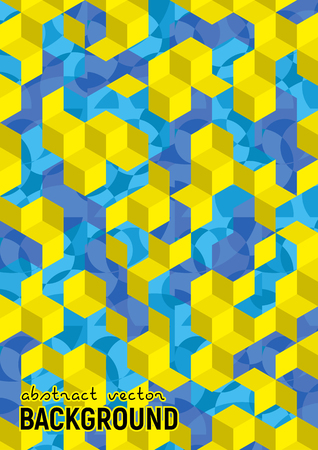 Abstract background. Blue and yellow isometric cubes with patterns. Vector hexagon structure. Futuristic science illustration. Size A4.