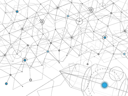 Abstract background. Vector gray lines and dots on white surface with some cyan circles. Points with connections - space map. Wireframe rocket in the corner. Futuristic science illustration.