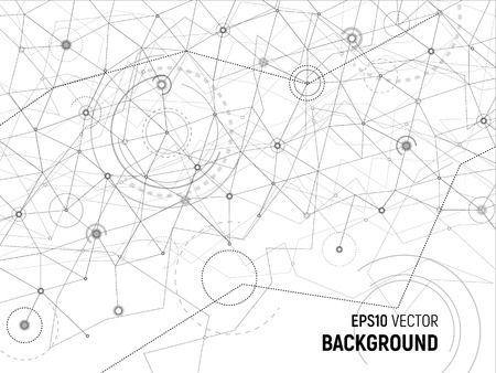 Abstract background. Vector gray lines and dots on white surface with some circles and arcs. Points with connections - space map. Futuristic science illustration.