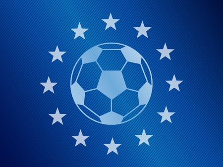 Soccer ball in the middle of European Union flag. Vector image In blue and white colors.