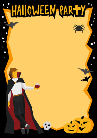Halloween frame in black and orange. Template for party poster or card with traditional horror pumpkins and bats. Vampire with wineglass in the corner. Simple style vector clip art. Illustration