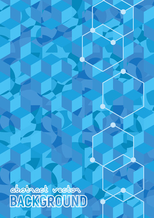 Abstract background. Blue isometric cubes with patterns. Vector hexagon structure. Futuristic science illustration. Size A4. Illustration