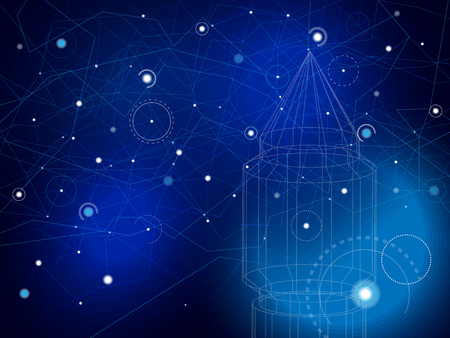 Space map with rocket. Stars and lines on deep blue with wireframe spaceship. Abstract futuristic science background. Vector illustration.
